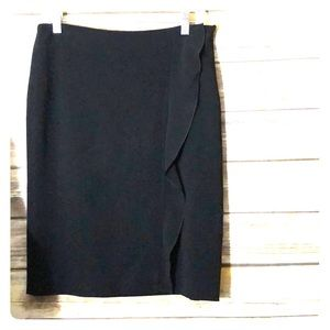 VALENTINO Pencil Skirt Side Ruffle Black